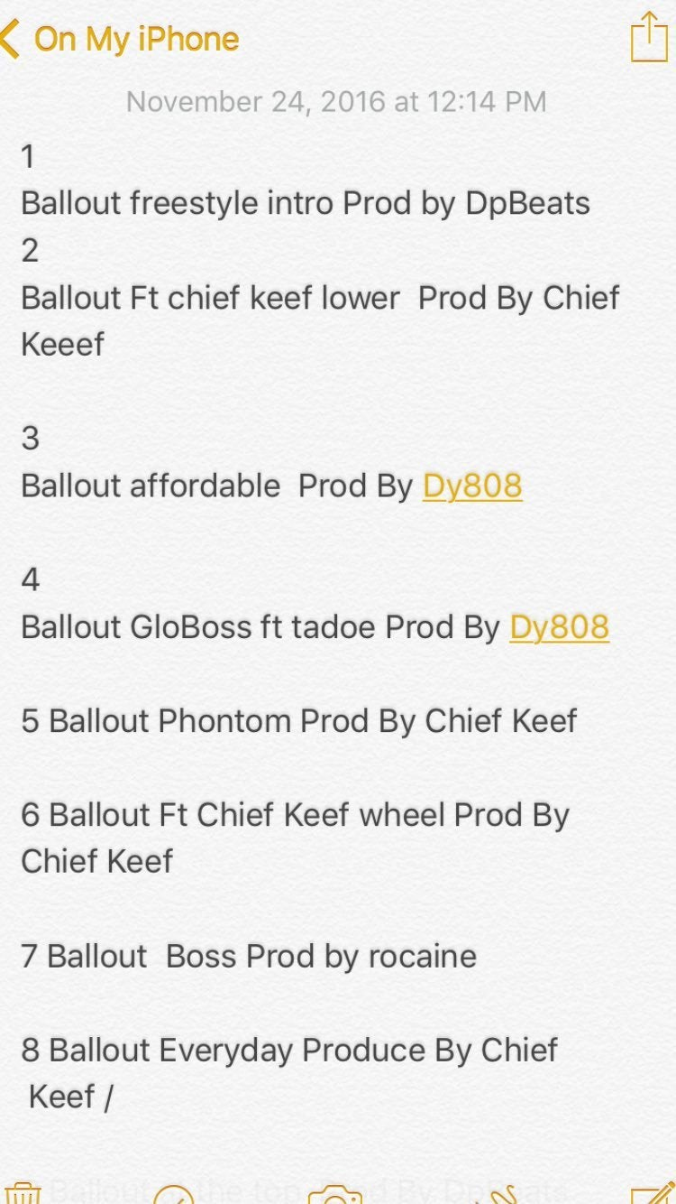 Official track list for compilation tape chiefkeef
