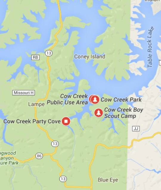 Party cove on table rock lake