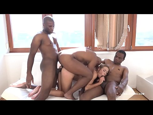 Alexis crystal wears lingerie and enjoys interracial anal