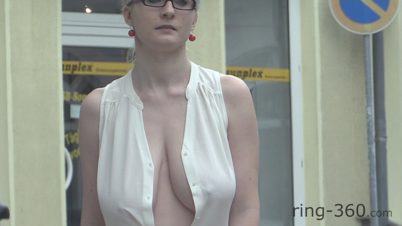 Big boobs bounce out in public xxx