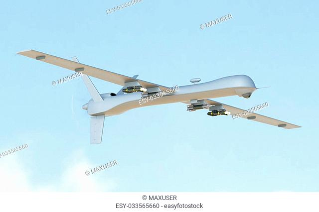 Stock photo render of an unmanned aerial vehicle or drone dropping a laser guided bomb against a cloudy