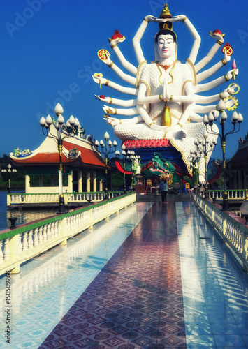 Stock photo wat plai laem temple with hands god statue guan yin koh samui surat thani thailand