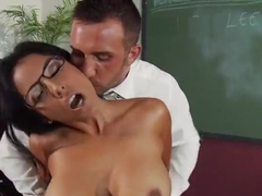 Short hair with glasses and big tits takes huge facial