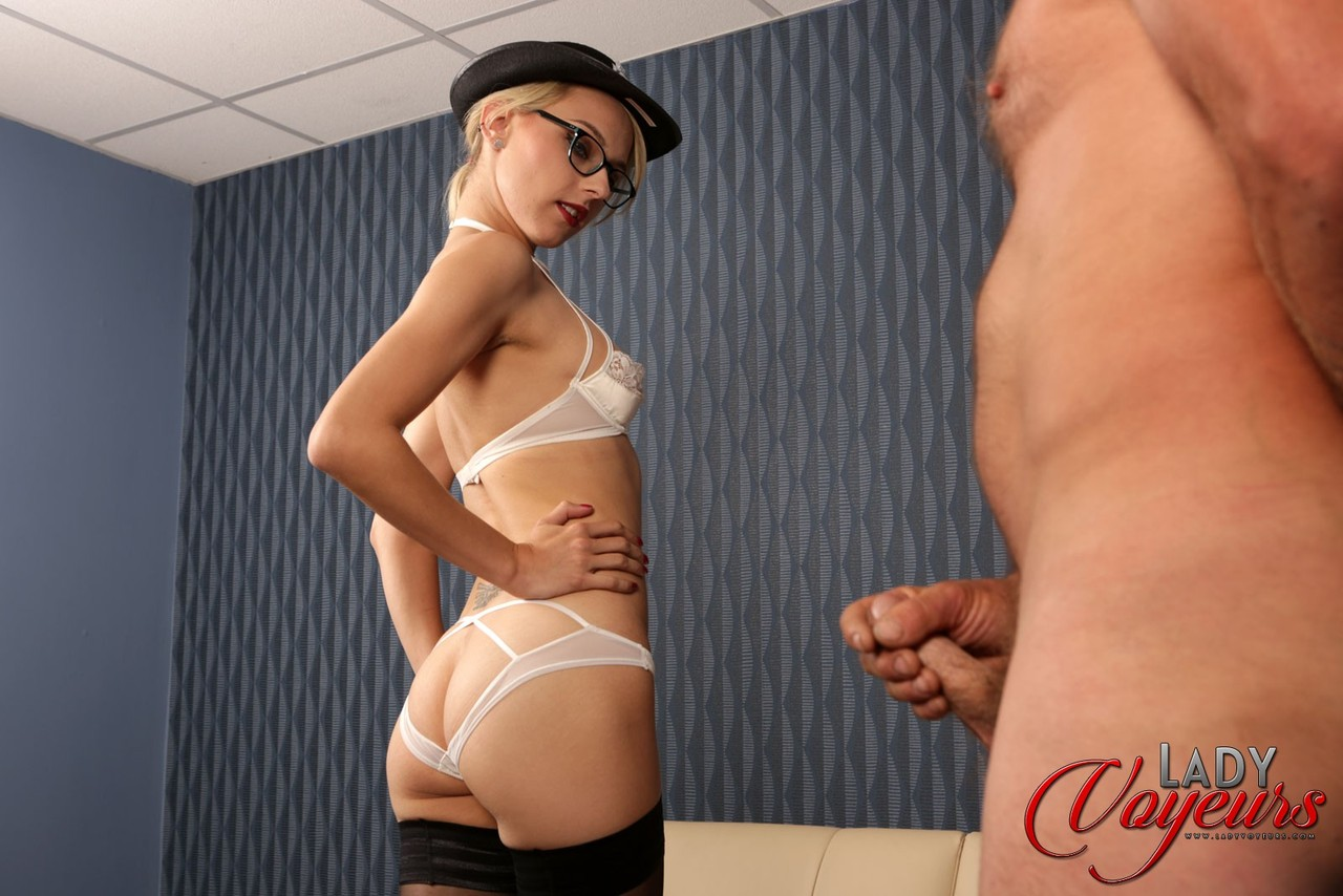 Naughty female police officer chloe toy strips in front